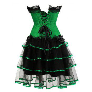 Two Piece Plus Size Flounce Corset Dress - GREEN 5XL