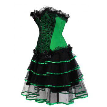 Two Piece Plus Size Flounce Corset Dress - GREEN GREEN