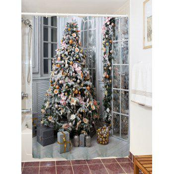 Christmas Tree Gift Print Waterproof Shower Curtain - COLORMIX W59 INCH * L71 INCH