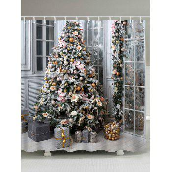 2018 christmas tree gift print waterproof shower curtain colormix w inch l inch in shower. Black Bedroom Furniture Sets. Home Design Ideas