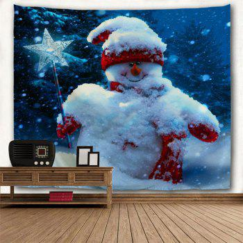Magic Stick Christmas Snowman Wall Decor Tapisserie - Bleu W79 INCH * L71 INCH
