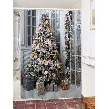 Christmas Tree Gift Print Waterproof Shower Curtain - COLORMIX W71 INCH * L79 INCH