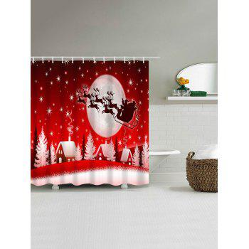 Christmas Sled Moon House Waterproof Shower Curtain - RED W71 INCH * L71 INCH