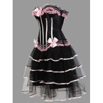 Tier Flounce Two Piece Plus Size Corset Dress - PINK PINK