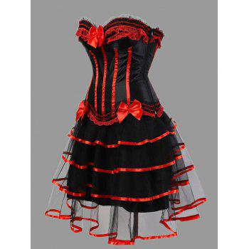 Tier Flounce Two Piece Plus Size Corset Dress - RED RED