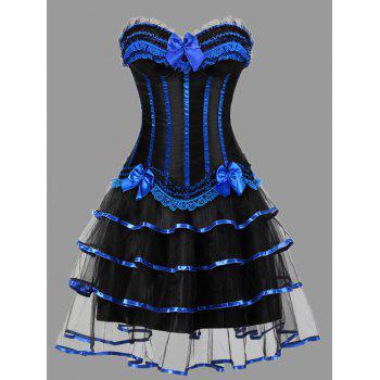 Tier Flounce Two Piece Plus Size Corset Dress - BLUE 6XL