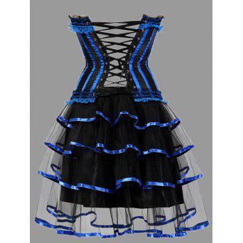 Tier Flounce Two Piece Plus Size Corset Dress - BLUE BLUE