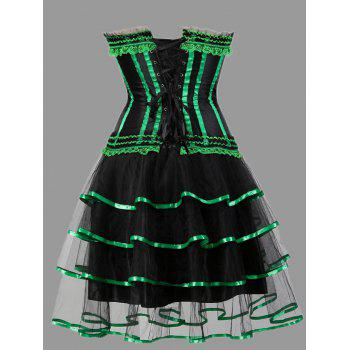 Tier Flounce Two Piece Plus Size Corset Dress - GREEN GREEN