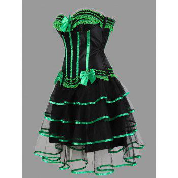Tier Flounce Two Piece Plus Size Corset Dress - GREEN 5XL