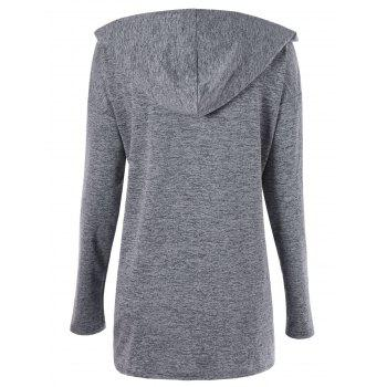 Plus Size Drop Shoulder Drawstring Ruched Hoodie - GRAY XL