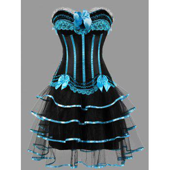 Tier Flounce Two Piece Plus Size Corset Dress - LIGHT BLUE LIGHT BLUE
