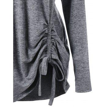 Plus Size Drop Shoulder Drawstring Ruched Hoodie - GRAY 2XL