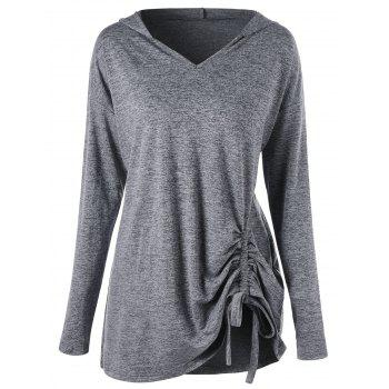 Plus Size Drop Shoulder Drawstring Ruched Hoodie - GRAY GRAY
