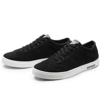 Low Top Zigzag Embroidery Casual Skate Shoes - Noir 39