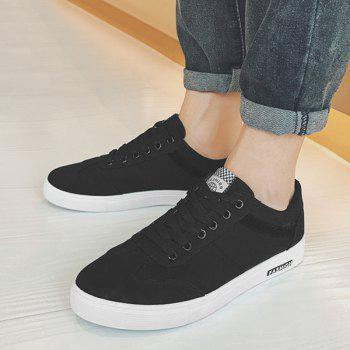 Low Top Zigzag Embroidery Casual Skate Shoes - Noir 42