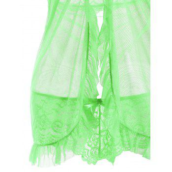 Halter Lace Split Ruffled Babydoll - GREEN 2XL