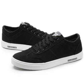 Low Top Zigzag Embroidery Casual Skate Shoes - Noir 44