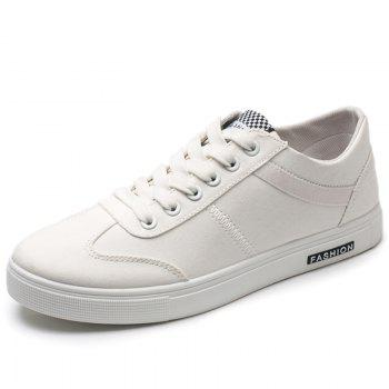 Low Top Zigzag Embroidery Casual Skate Shoes - Blanc 44