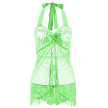 Halter Lace Split Ruffled Babydoll - GREEN M