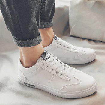 Low Top Zigzag Embroidery Casual Skate Shoes - Blanc 41