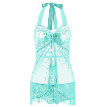 Halter Lace Split Ruffled Babydoll - LIGHT GREEN L