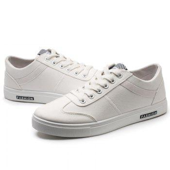 Low Top Zigzag Embroidery Casual Skate Shoes - Blanc 42