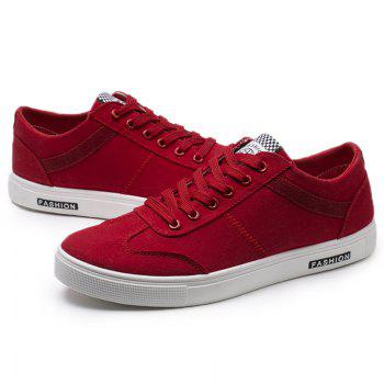 Low Top Zigzag Embroidery Casual Skate Shoes - Rouge 44
