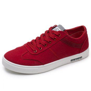 Low Top Zigzag Embroidery Casual Skate Shoes - Rouge 41
