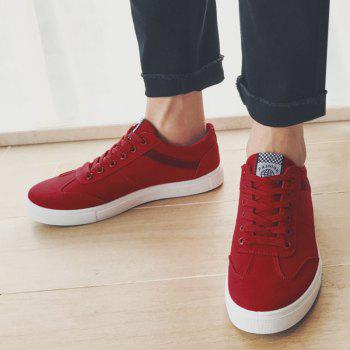 Low Top Zigzag Embroidery Casual Skate Shoes - Rouge 42