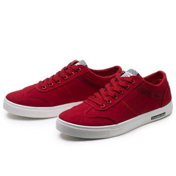 Low Top Zigzag Embroidery Casual Skate Shoes - Rouge 39
