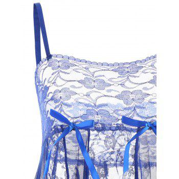 Lace Slip See Through Babydoll - BLUE L