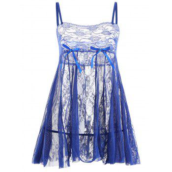 Lace Slip See Through Babydoll - BLUE S