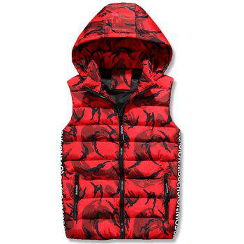 Zipper Up Camo Hooded Quilted Vest - RED 3XL