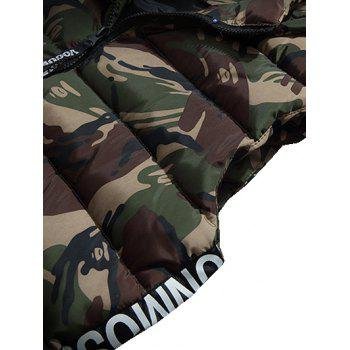 Zipper Up Camo Hooded Quilted Vest - L L