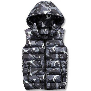 Zipper Up Camo Hooded Quilted Vest - GRAY 2XL