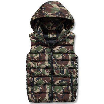 Zipper Up Camo Hooded Quilted Vest - ARMY GREEN 3XL