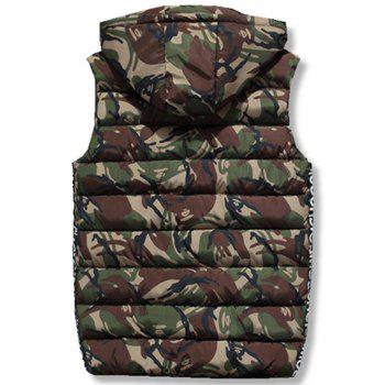 Zipper Up Camo Hooded Quilted Vest - ARMY GREEN XL