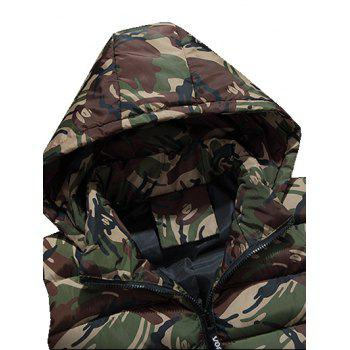 Zipper Up Camo Hooded Quilted Vest - ARMY GREEN M