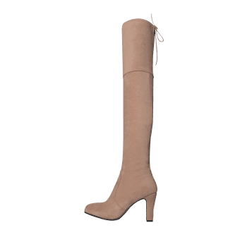 Mid Heel Tie Back Thigh High Boots - ROSE PÂLE 38
