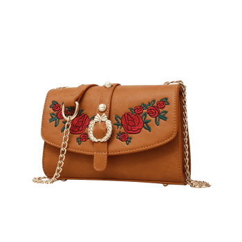 Faux Pearl Embroidery Metal Detailed Crossbody Bag -  BROWN