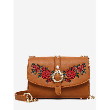 Faux Pearl Embroidery Metal Detailed Crossbody Bag - BROWN BROWN