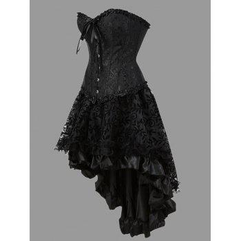 Flounce Plus Size Two Piece Corset Dress - BLACK 3XL