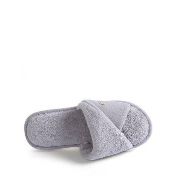 Open Toe Faux Fur House Slippers - GRAY SIZE(36-37)