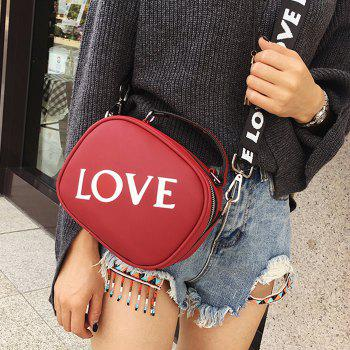 Faux Leather Print Letter Crossbody Bag - RED