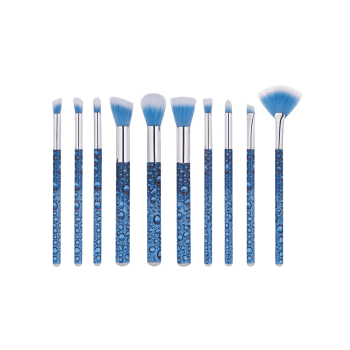 10 PCS Waterdrop Pattern Makeup Brush Suit - BLUE