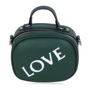 Faux Leather Print Letter Crossbody Bag - GREEN GREEN