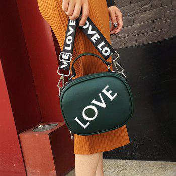 Faux Leather Print Letter Crossbody Bag - GREEN