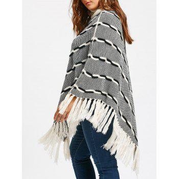 Tassel Plus Size Stripe Turtleneck Poncho Sweater - WHITE + GREY XL