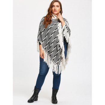 Tassel Plus Size Stripe Turtleneck Poncho Sweater - XL XL