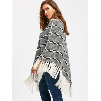 Tassel Plus Size Stripe Turtleneck Poncho Sweater - WHITE / GREY WHITE / GREY
